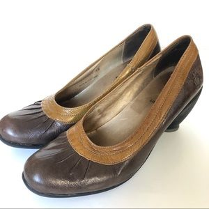 Fly London brown leather heel, size 38